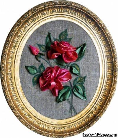 объемные розы из атласных лент мастер.